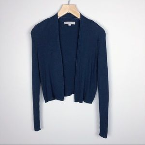 LOFT Cropped Ribbed Navy Cardigan Size M